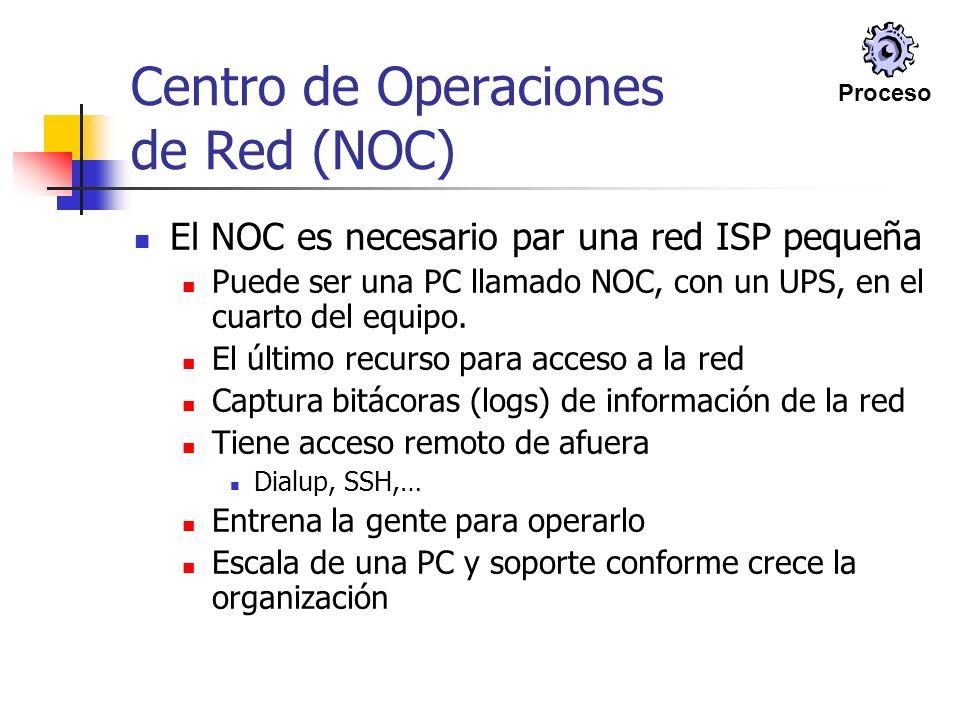 Centro de Operaciones de Red (NOC) El NOC es necesario par una red ISP pequeña Puede ser una PC llamado NOC, con un UPS, en el cuarto del equipo. El ú