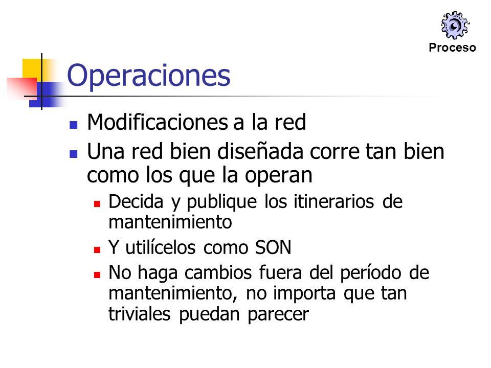 Operaciones Modificaciones a la red Una red bien diseñada corre tan bien como los que la operan Decida y publique los itinerarios de mantenimiento Y u