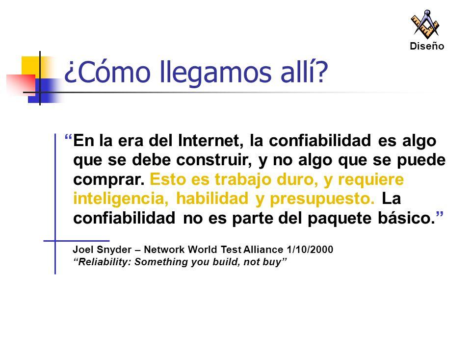 Joel Snyder – Network World Test Alliance 1/10/2000 Reliability: Something you build, not buy ¿Cómo llegamos allí? En la era del Internet, la confiabi