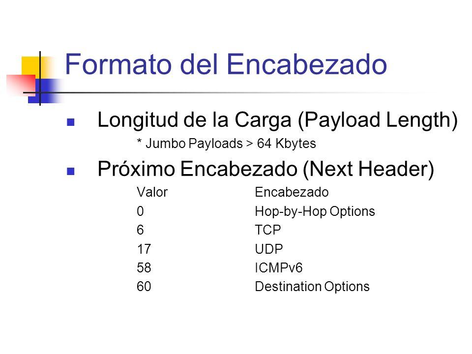 Longitud de la Carga (Payload Length) * Jumbo Payloads > 64 Kbytes Próximo Encabezado (Next Header) ValorEncabezado 0Hop-by-Hop Options 6TCP 17UDP 58I