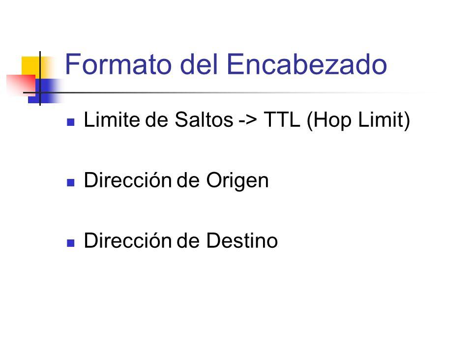 Limite de Saltos -> TTL (Hop Limit) Dirección de Origen Dirección de Destino Formato del Encabezado