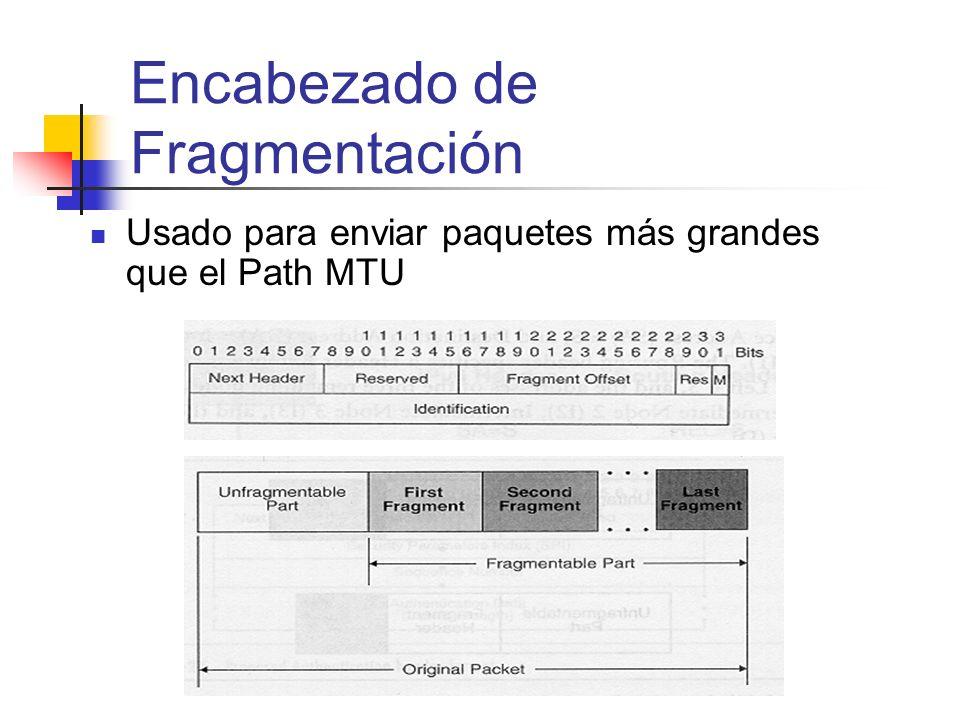 Usado para enviar paquetes más grandes que el Path MTU Encabezado de Fragmentación