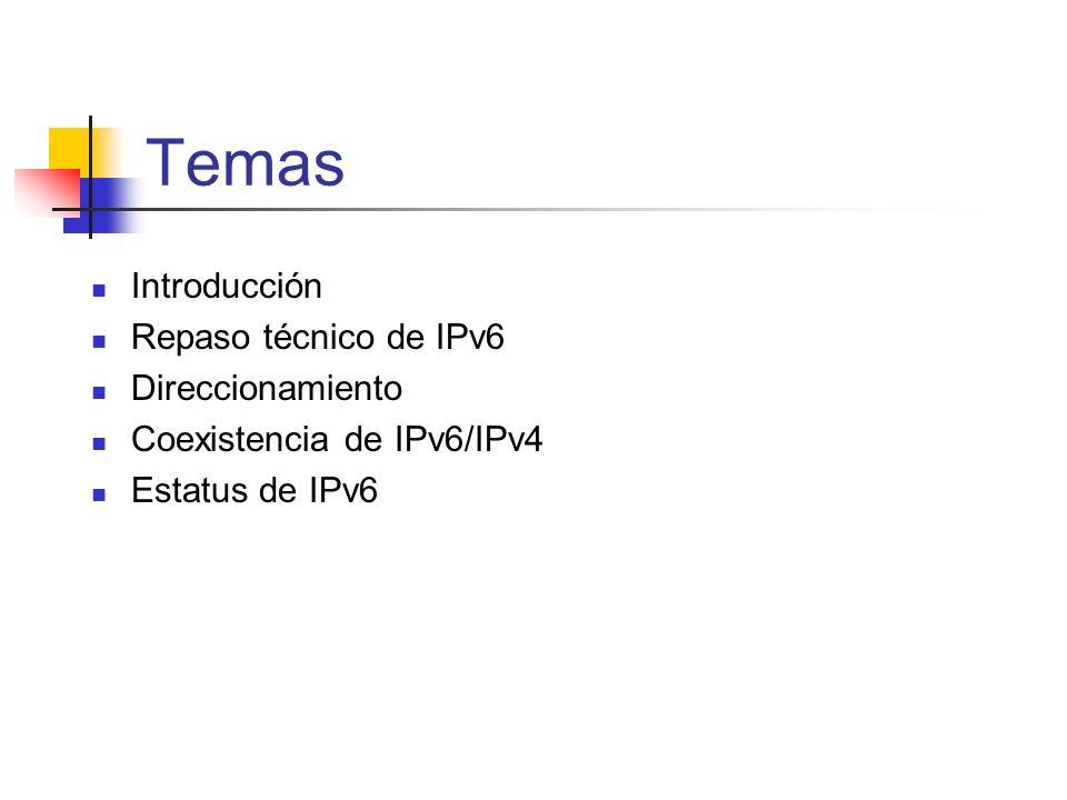 Temas Introducción Repaso técnico de IPv6 Direccionamiento Coexistencia de IPv6/IPv4 Estatus de IPv6