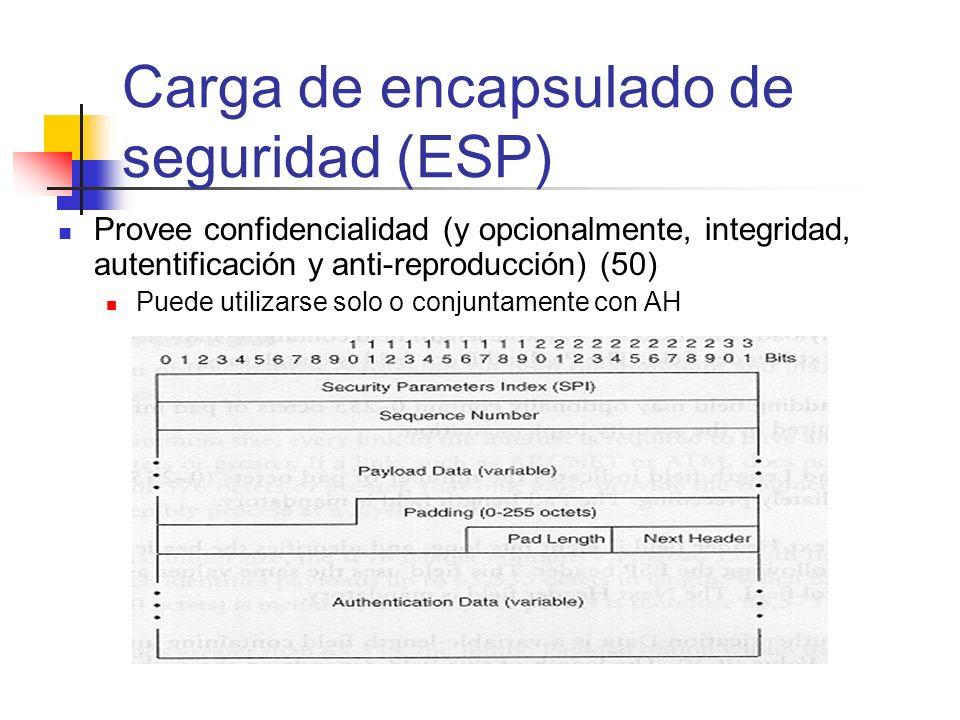 Provee confidencialidad (y opcionalmente, integridad, autentificación y anti-reproducción) (50) Puede utilizarse solo o conjuntamente con AH Carga de