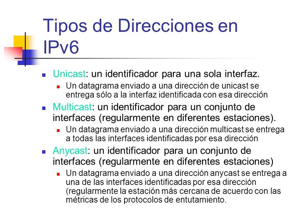 Unicast: un identificador para una sola interfaz. Un datagrama enviado a una dirección de unicast se entrega sólo a la interfaz identificada con esa d