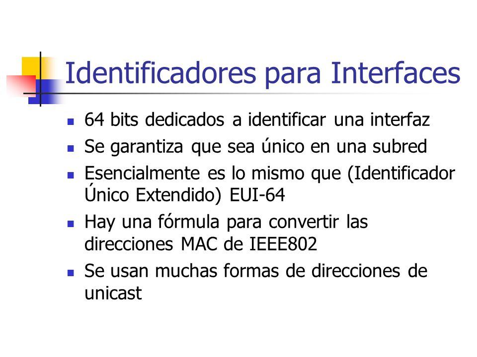 Identificadores para Interfaces 64 bits dedicados a identificar una interfaz Se garantiza que sea único en una subred Esencialmente es lo mismo que (I