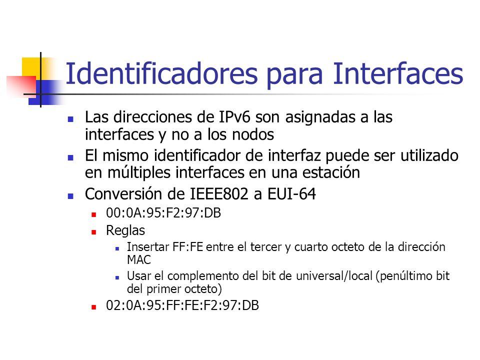 Identificadores para Interfaces Las direcciones de IPv6 son asignadas a las interfaces y no a los nodos El mismo identificador de interfaz puede ser u
