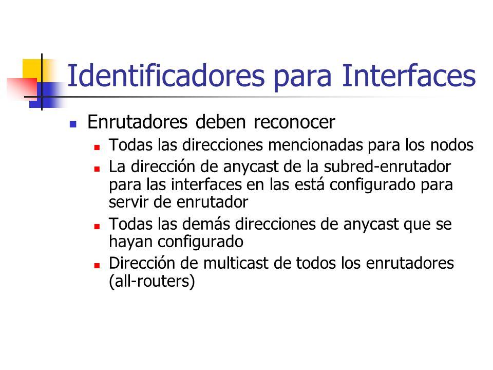 Identificadores para Interfaces Enrutadores deben reconocer Todas las direcciones mencionadas para los nodos La dirección de anycast de la subred-enru