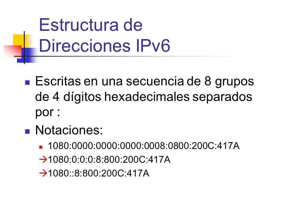 Escritas en una secuencia de 8 grupos de 4 dígitos hexadecimales separados por : Notaciones: 1080:0000:0000:0000:0008:0800:200C:417A 1080:0:0:0:8:800: