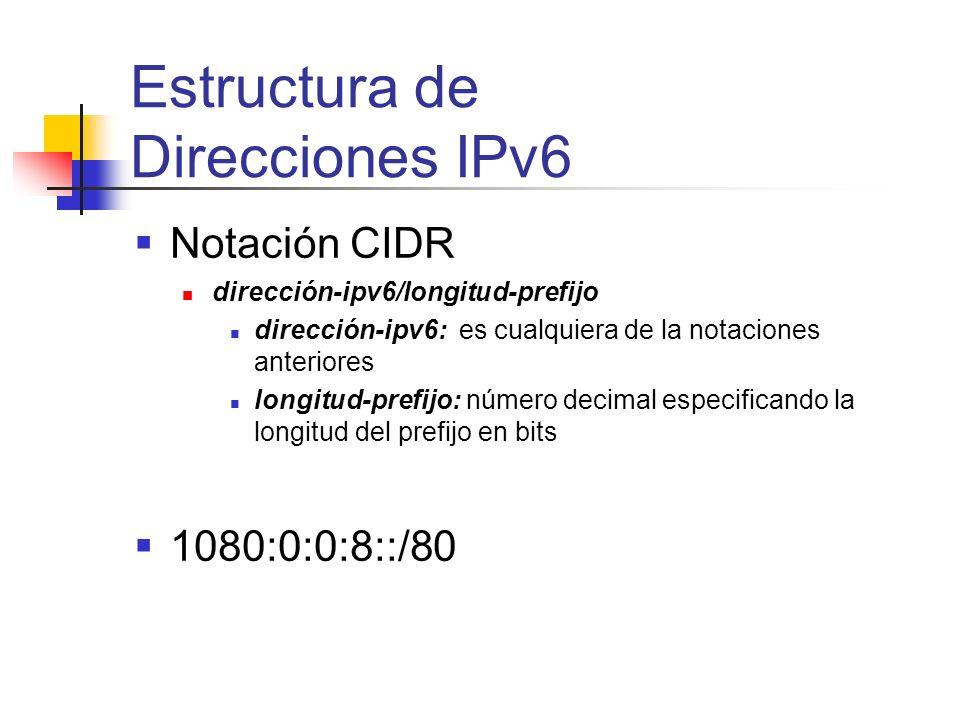 Notación CIDR dirección-ipv6/longitud-prefijo dirección-ipv6: es cualquiera de la notaciones anteriores longitud-prefijo: número decimal especificando