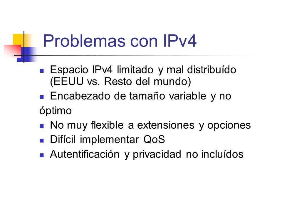 Problemas con IPv4 Espacio IPv4 limitado y mal distribuído (EEUU vs. Resto del mundo) Encabezado de tamaño variable y no óptimo No muy flexible a exte