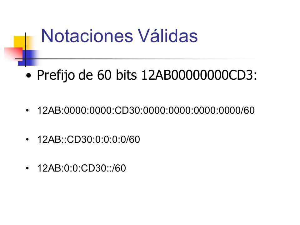 Notaciones Válidas Prefijo de 60 bits 12AB00000000CD3: 12AB:0000:0000:CD30:0000:0000:0000:0000/60 12AB::CD30:0:0:0:0/60 12AB:0:0:CD30::/60
