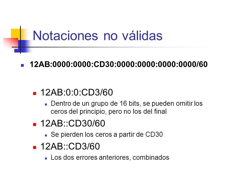 12AB:0000:0000:CD30:0000:0000:0000:0000/60 12AB:0:0:CD3/60 Dentro de un grupo de 16 bits, se pueden omitir los ceros del principio, pero no los del fi