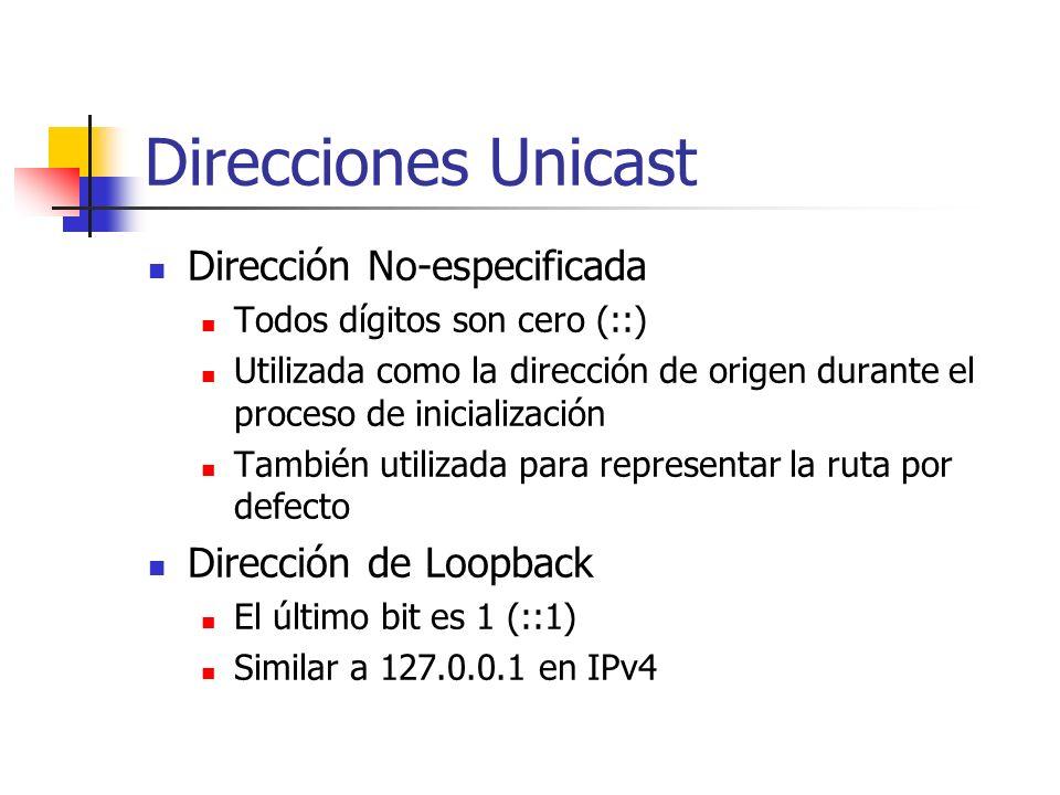 Direcciones Unicast Dirección No-especificada Todos dígitos son cero (::) Utilizada como la dirección de origen durante el proceso de inicialización T