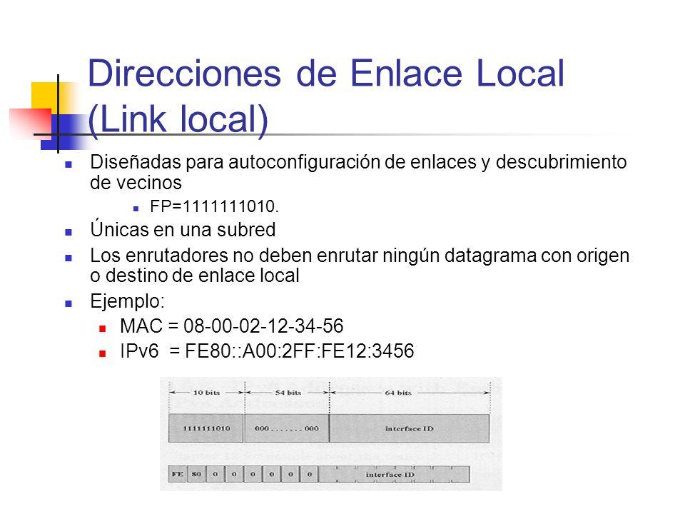 Direcciones de Enlace Local (Link local) Diseñadas para autoconfiguración de enlaces y descubrimiento de vecinos FP=1111111010. Únicas en una subred L