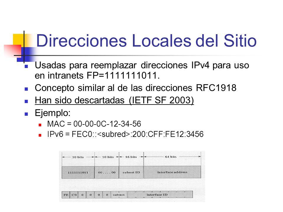 Direcciones Locales del Sitio Usadas para reemplazar direcciones IPv4 para uso en intranets FP=1111111011. Concepto similar al de las direcciones RFC1
