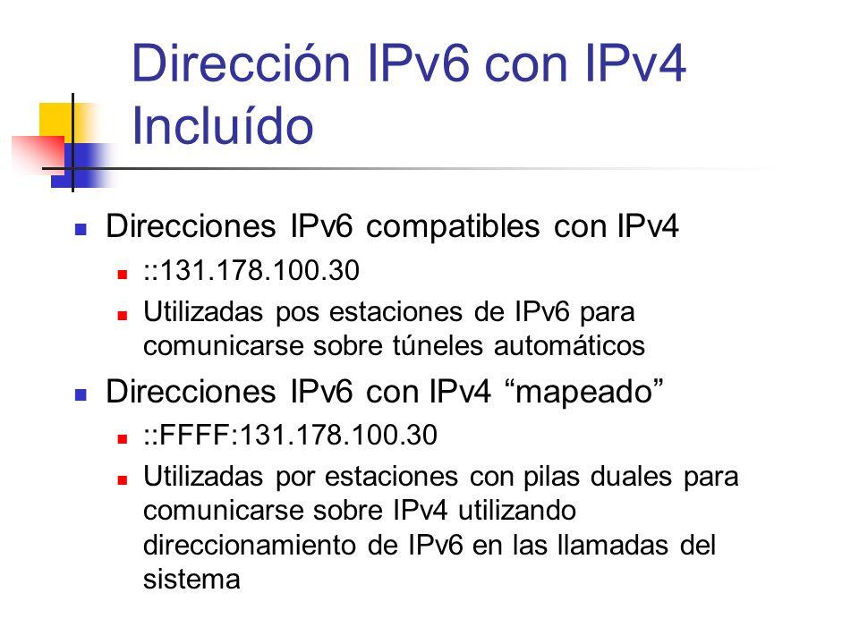 Dirección IPv6 con IPv4 Incluído Direcciones IPv6 compatibles con IPv4 ::131.178.100.30 Utilizadas pos estaciones de IPv6 para comunicarse sobre túnel