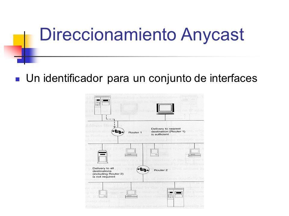Un identificador para un conjunto de interfaces Direccionamiento Anycast