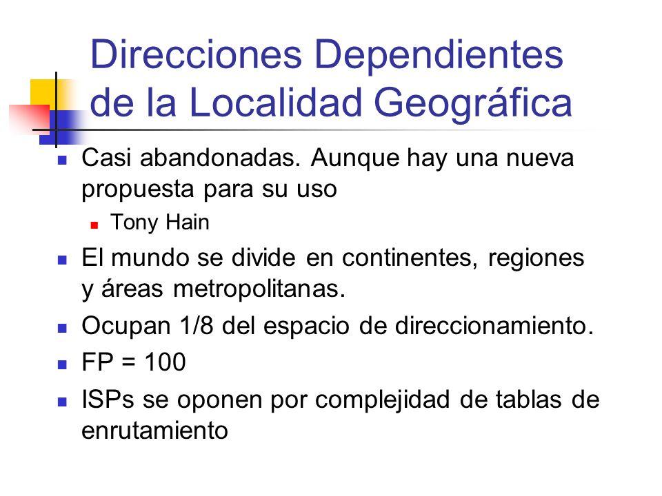 Direcciones Dependientes de la Localidad Geográfica Casi abandonadas. Aunque hay una nueva propuesta para su uso Tony Hain El mundo se divide en conti