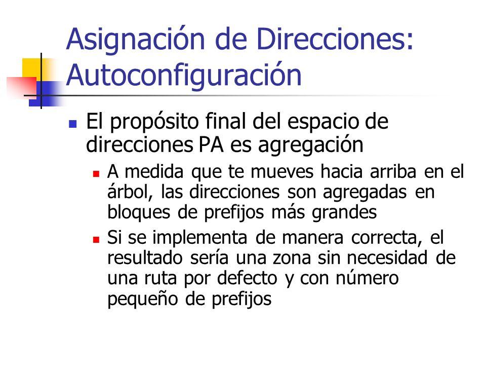 Asignación de Direcciones: Autoconfiguración El propósito final del espacio de direcciones PA es agregación A medida que te mueves hacia arriba en el