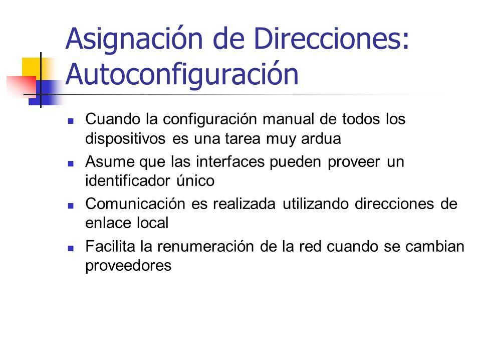 Asignación de Direcciones: Autoconfiguración Cuando la configuración manual de todos los dispositivos es una tarea muy ardua Asume que las interfaces