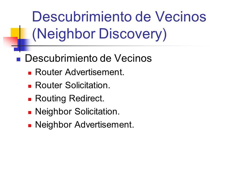 Descubrimiento de Vecinos (Neighbor Discovery) Descubrimiento de Vecinos Router Advertisement. Router Solicitation. Routing Redirect. Neighbor Solicit