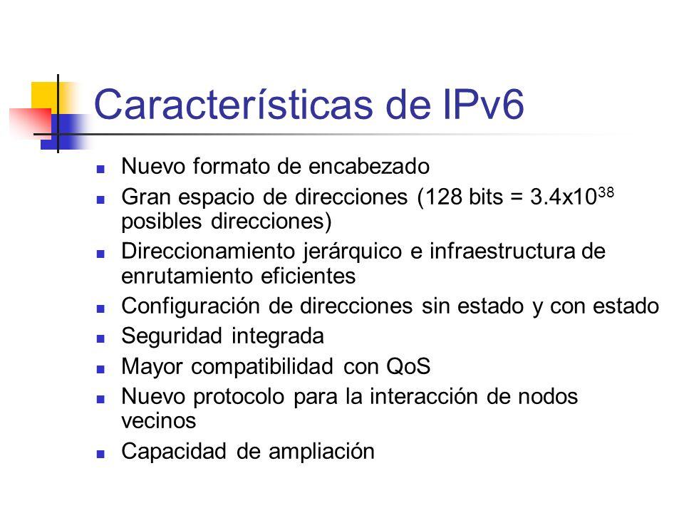 Características de IPv6 Nuevo formato de encabezado Gran espacio de direcciones (128 bits = 3.4x10 38 posibles direcciones) Direccionamiento jerárquic