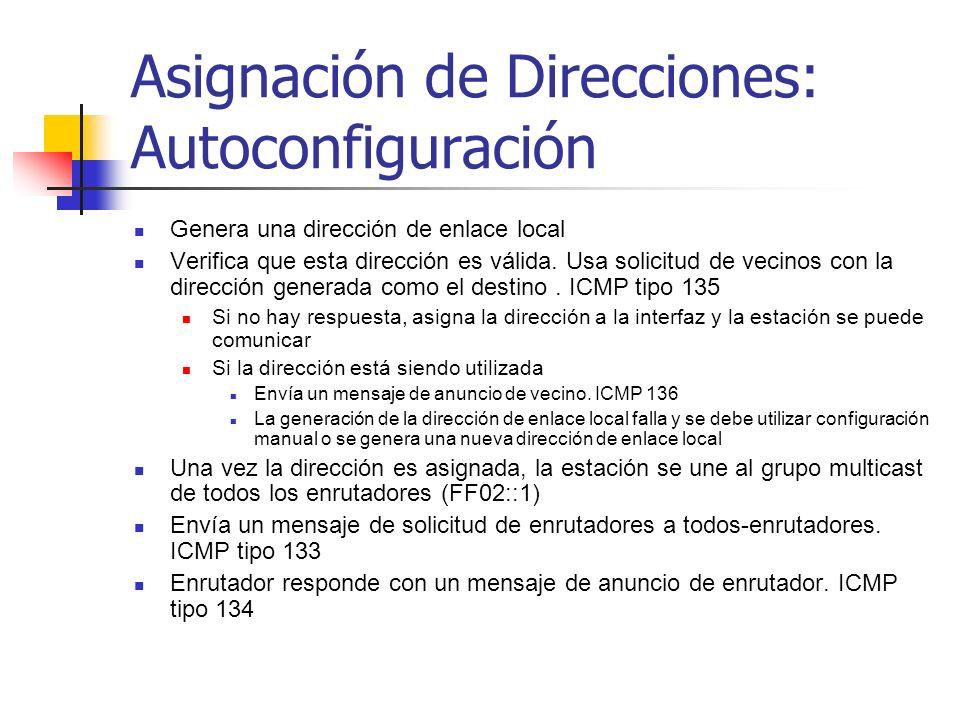 Asignación de Direcciones: Autoconfiguración Genera una dirección de enlace local Verifica que esta dirección es válida. Usa solicitud de vecinos con