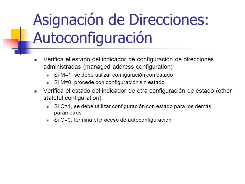 Asignación de Direcciones: Autoconfiguración Verifica el estado del indicador de configuración de direcciones administradas (managed address configura