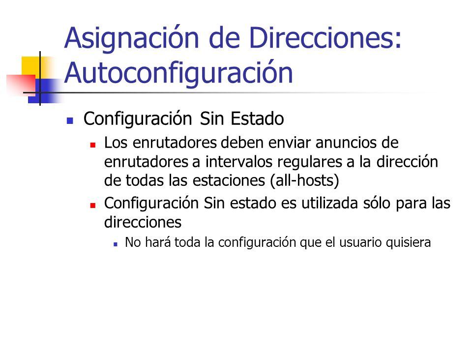 Asignación de Direcciones: Autoconfiguración Configuración Sin Estado Los enrutadores deben enviar anuncios de enrutadores a intervalos regulares a la