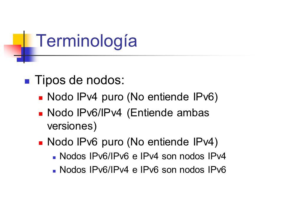 Tipos de nodos: Nodo IPv4 puro (No entiende IPv6) Nodo IPv6/IPv4 (Entiende ambas versiones) Nodo IPv6 puro (No entiende IPv4) Nodos IPv6/IPv6 e IPv4 s