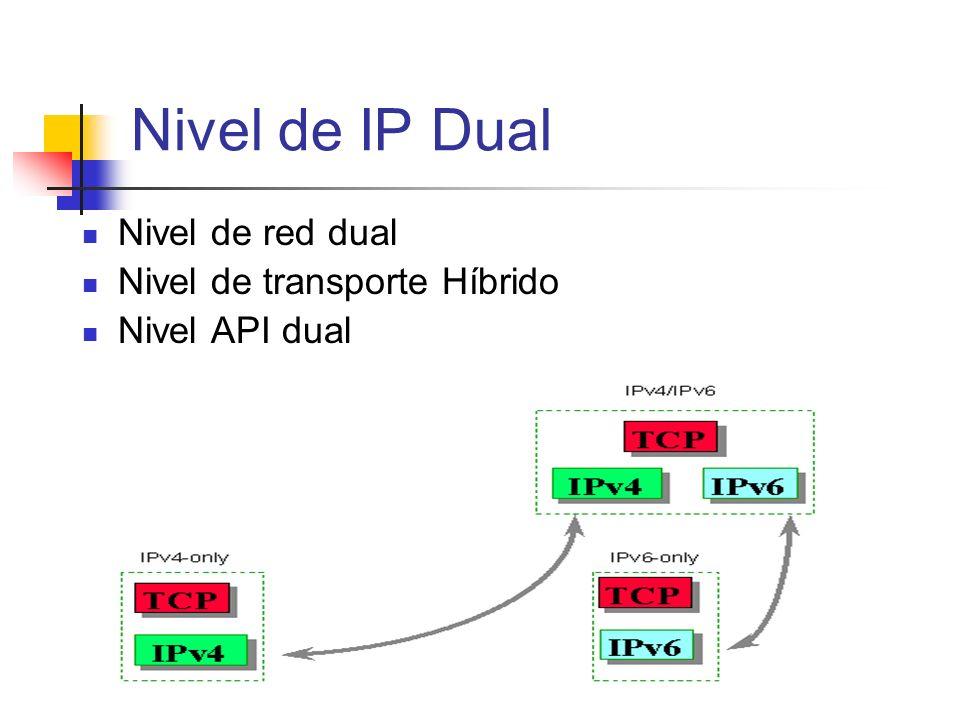 Nivel de red dual Nivel de transporte Híbrido Nivel API dual Nivel de IP Dual