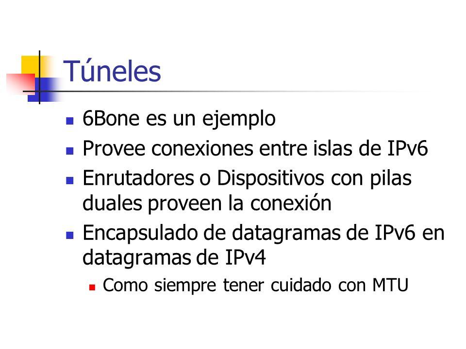 Túneles 6Bone es un ejemplo Provee conexiones entre islas de IPv6 Enrutadores o Dispositivos con pilas duales proveen la conexión Encapsulado de datag