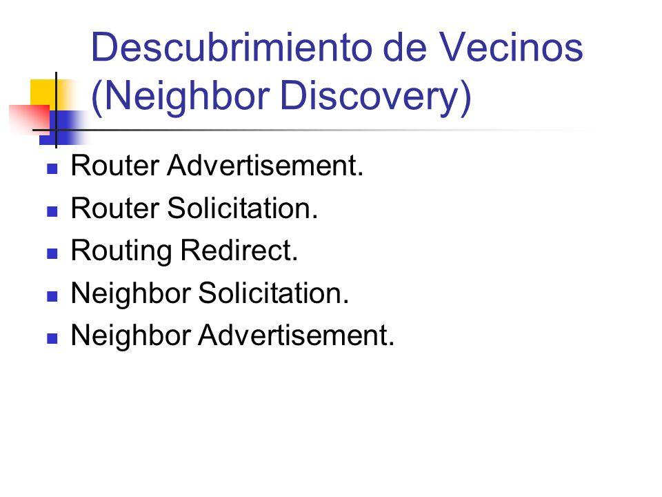 Descubrimiento de Vecinos (Neighbor Discovery) Router Advertisement. Router Solicitation. Routing Redirect. Neighbor Solicitation. Neighbor Advertisem