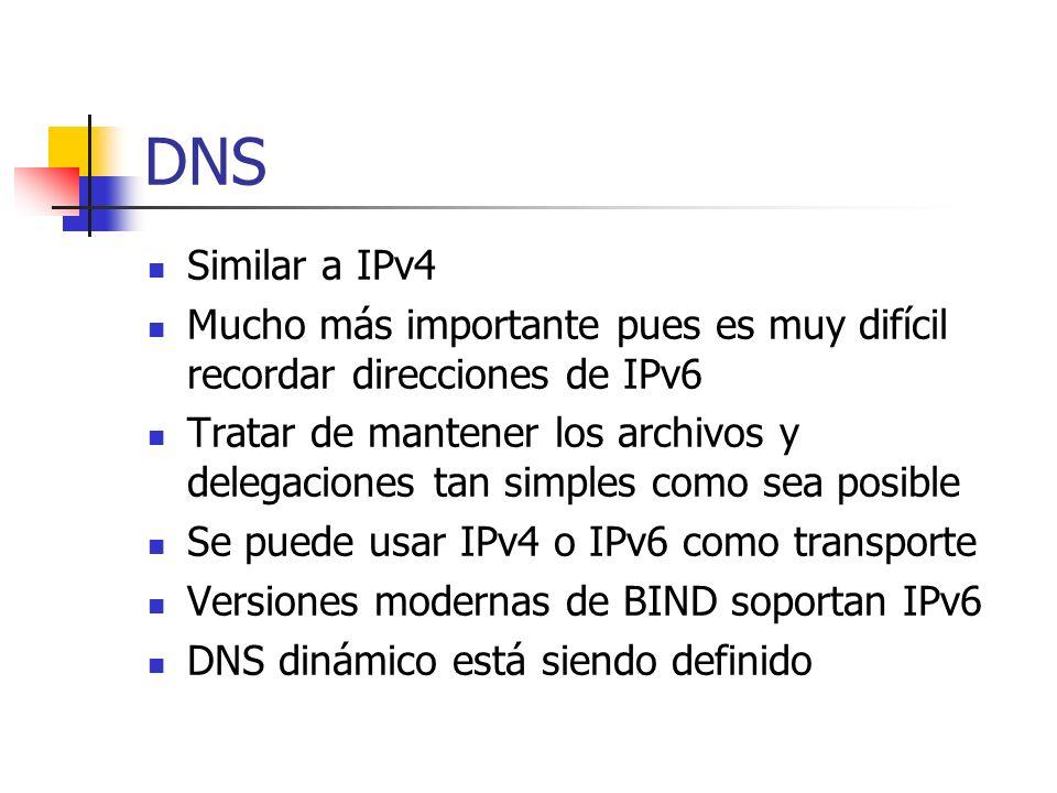 DNS Similar a IPv4 Mucho más importante pues es muy difícil recordar direcciones de IPv6 Tratar de mantener los archivos y delegaciones tan simples co