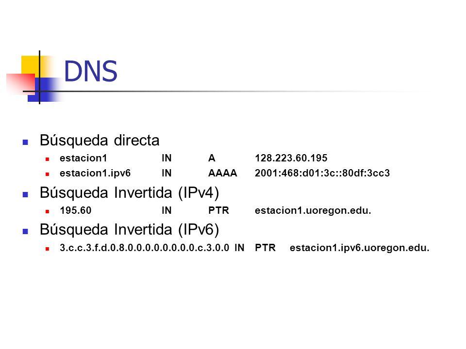 DNS Búsqueda directa estacion1INA128.223.60.195 estacion1.ipv6INAAAA2001:468:d01:3c::80df:3cc3 Búsqueda Invertida (IPv4) 195.60INPTRestacion1.uoregon.