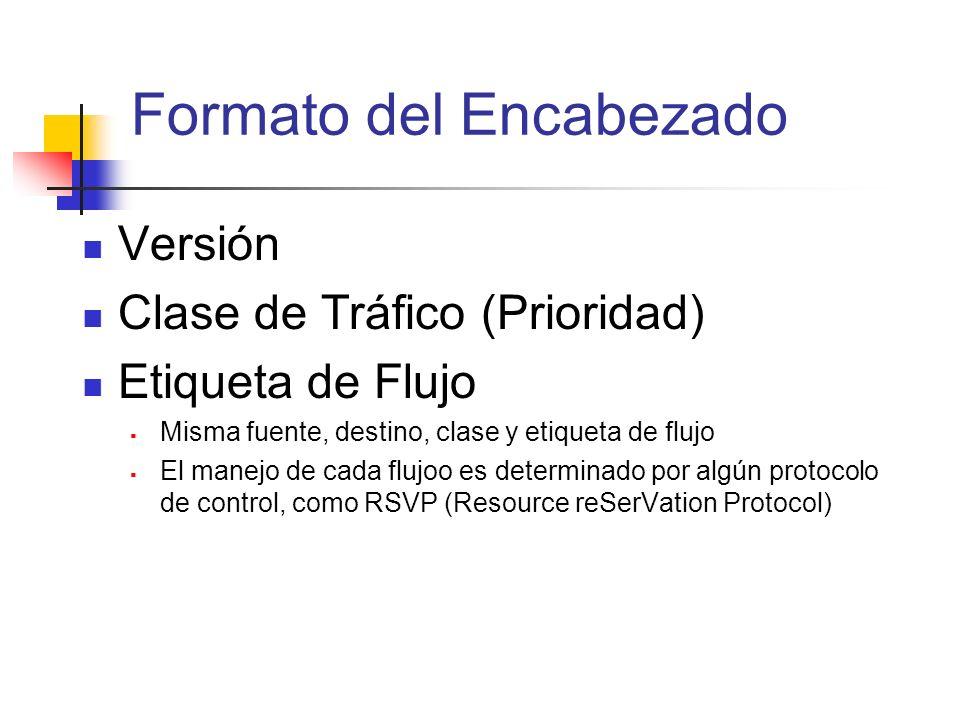 Formato del Encabezado Versión Clase de Tráfico (Prioridad) Etiqueta de Flujo Misma fuente, destino, clase y etiqueta de flujo El manejo de cada flujo