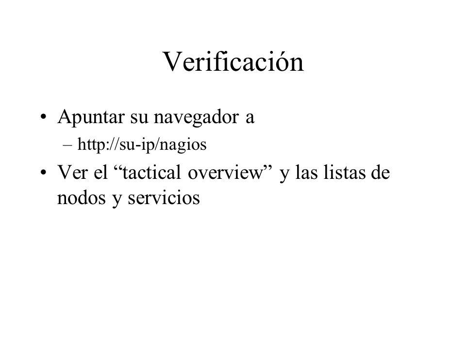 Verificación Apuntar su navegador a –http://su-ip/nagios Ver el tactical overview y las listas de nodos y servicios