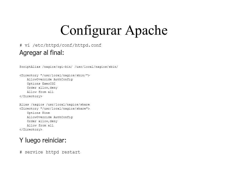 Configurar Apache # vi /etc/httpd/conf/httpd.conf Agregar al final: ScriptAlias /nagios/cgi-bin/ /usr/local/nagios/sbin/ AllowOverride AuthConfig Opti