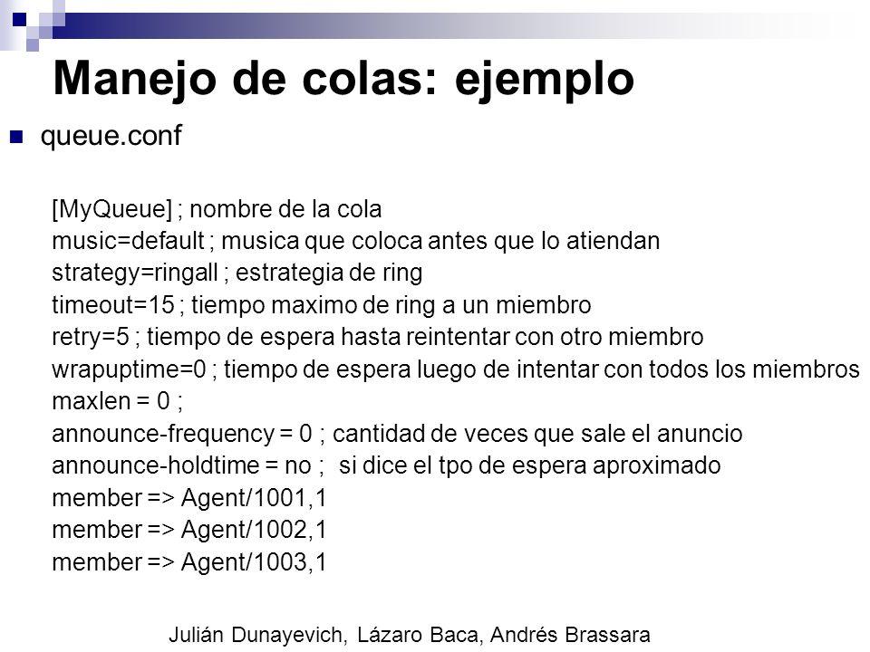 Manejo de colas: ejemplo queue.conf [MyQueue] ; nombre de la cola music=default ; musica que coloca antes que lo atiendan strategy=ringall ; estrategi