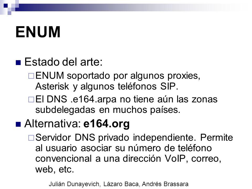 ENUM Estado del arte: ENUM soportado por algunos proxies, Asterisk y algunos teléfonos SIP. El DNS.e164.arpa no tiene aún las zonas subdelegadas en mu