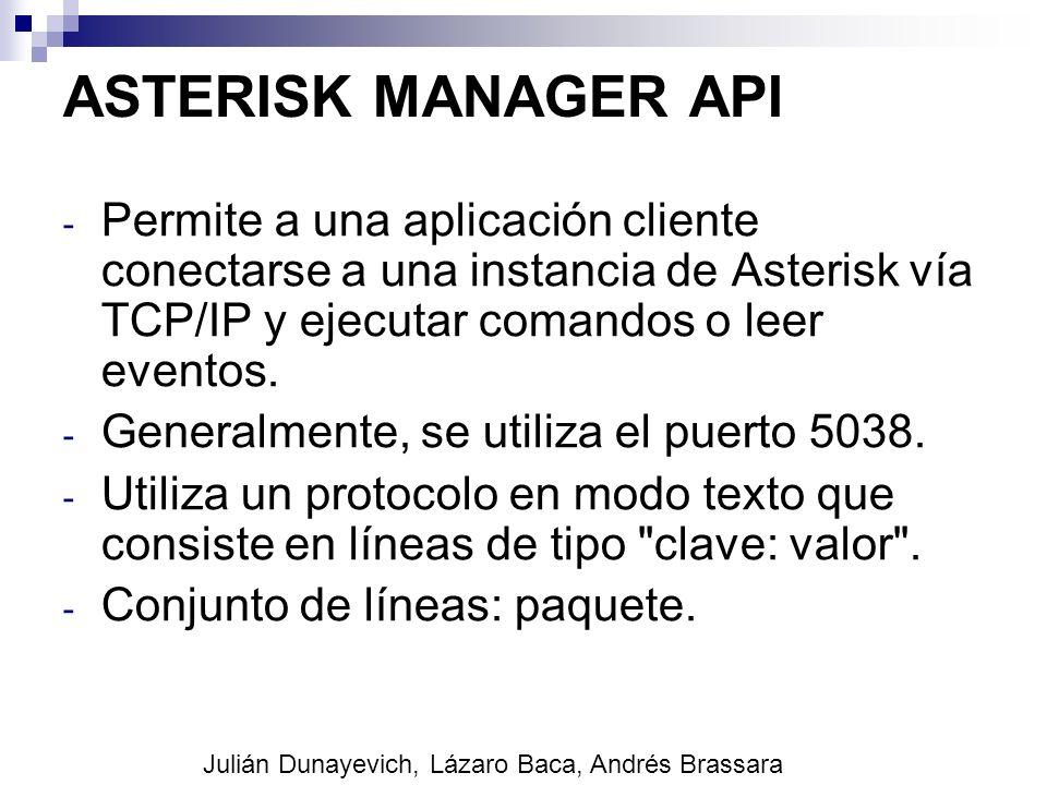 ASTERISK MANAGER API - Permite a una aplicación cliente conectarse a una instancia de Asterisk vía TCP/IP y ejecutar comandos o leer eventos. - Genera