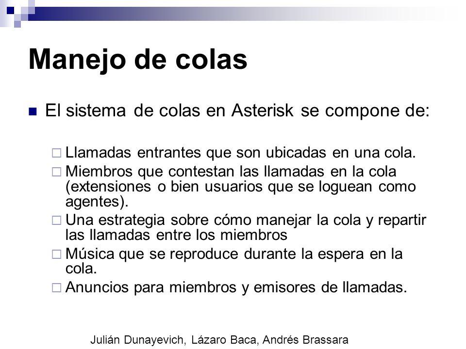 Manejo de colas El sistema de colas en Asterisk se compone de: Llamadas entrantes que son ubicadas en una cola. Miembros que contestan las llamadas en