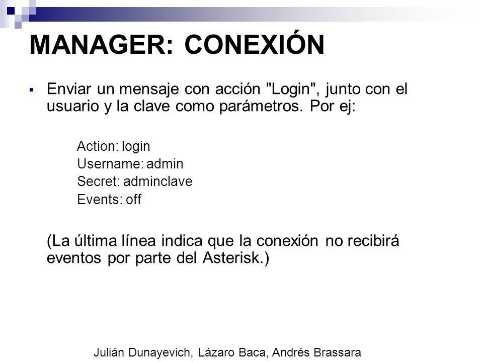 MANAGER: CONEXIÓN Enviar un mensaje con acción