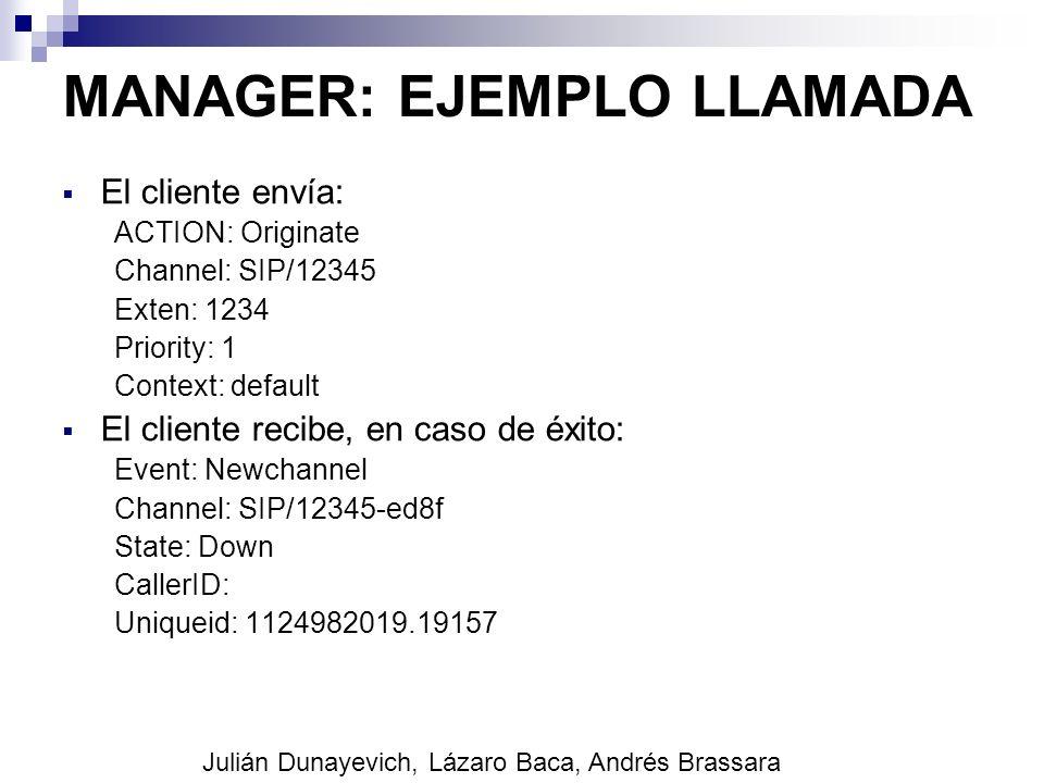MANAGER: EJEMPLO LLAMADA El cliente envía: ACTION: Originate Channel: SIP/12345 Exten: 1234 Priority: 1 Context: default El cliente recibe, en caso de
