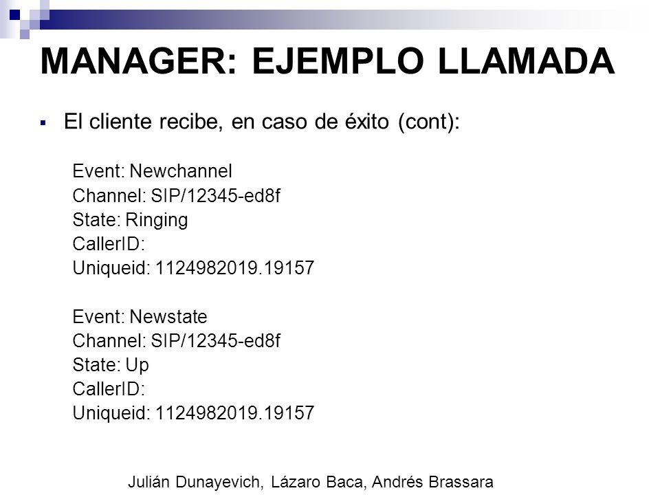 MANAGER: EJEMPLO LLAMADA El cliente recibe, en caso de éxito (cont): Event: Newchannel Channel: SIP/12345-ed8f State: Ringing CallerID: Uniqueid: 1124