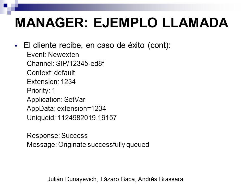 MANAGER: EJEMPLO LLAMADA El cliente recibe, en caso de éxito (cont): Event: Newexten Channel: SIP/12345-ed8f Context: default Extension: 1234 Priority