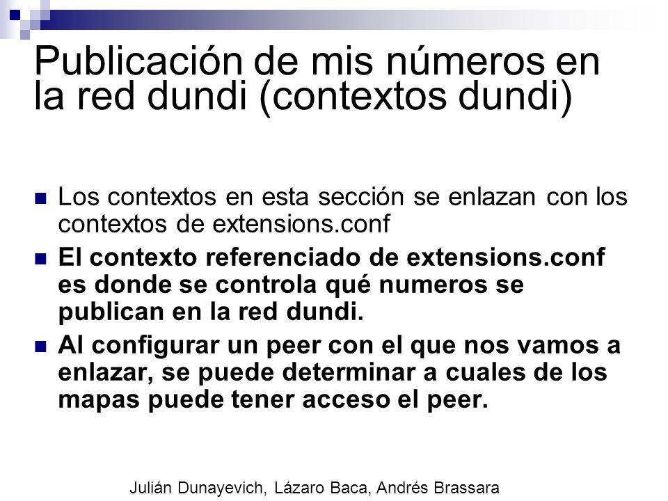 Publicación de mis números en la red dundi (contextos dundi) Los contextos en esta sección se enlazan con los contextos de extensions.conf El contexto