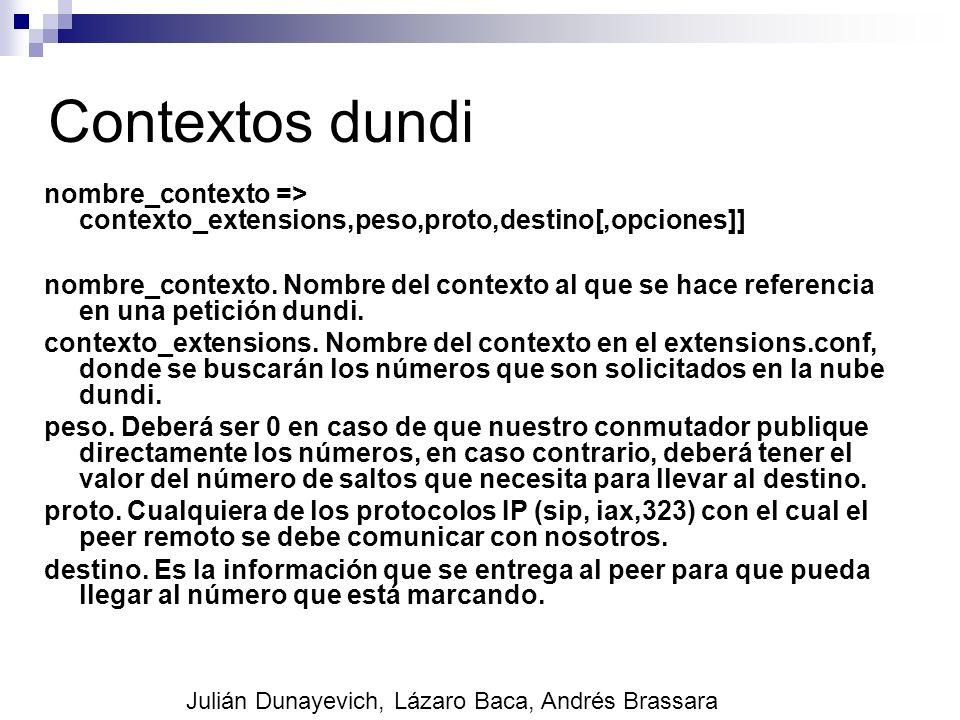 Contextos dundi nombre_contexto => contexto_extensions,peso,proto,destino[,opciones]] nombre_contexto. Nombre del contexto al que se hace referencia e