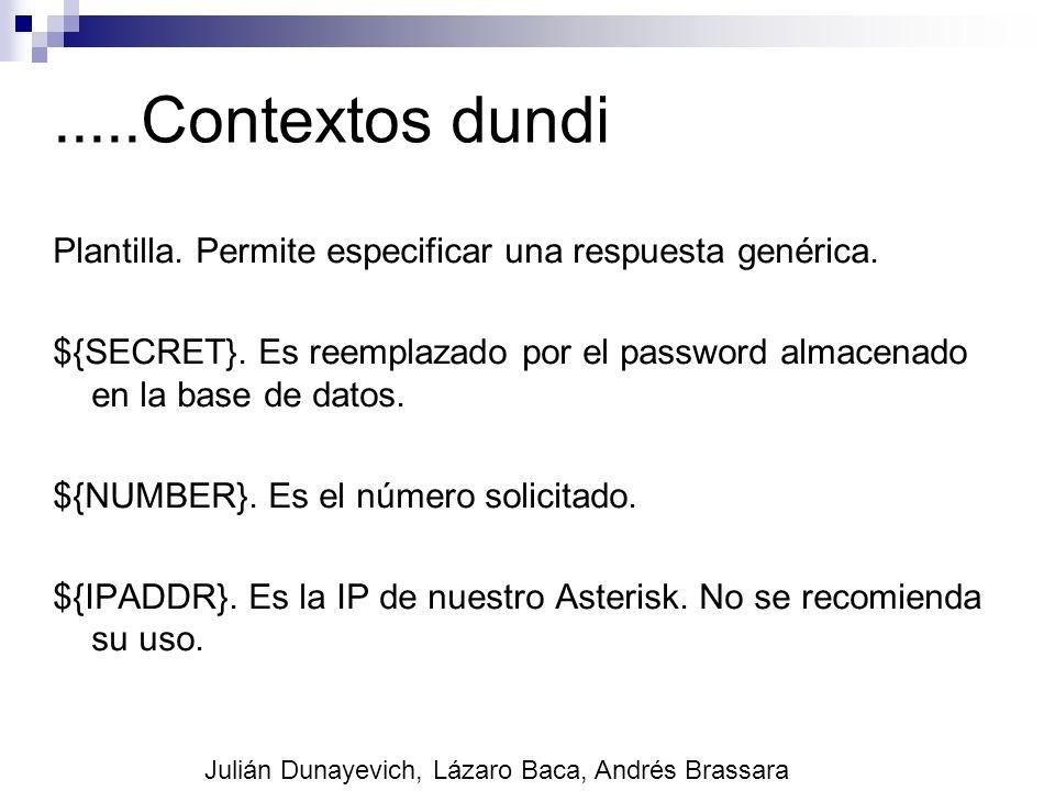 .....Contextos dundi Plantilla. Permite especificar una respuesta genérica. ${SECRET}. Es reemplazado por el password almacenado en la base de datos.